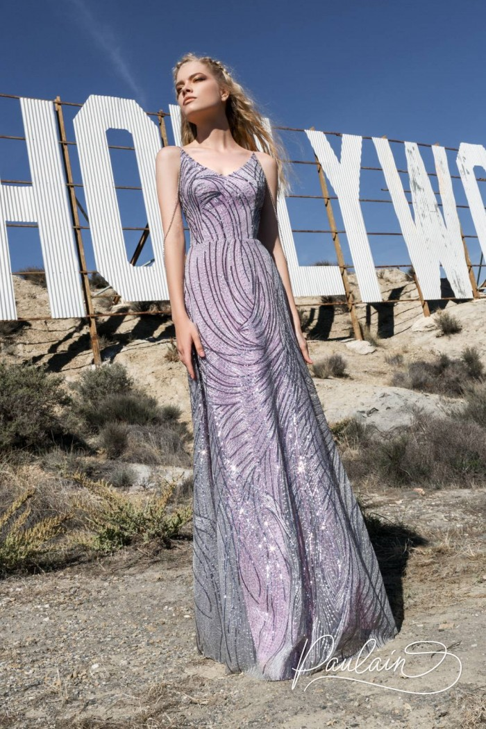 Расшитое бисером вечернее платье сиреневого цвета - ДОЛИНА ГРЕЗ | Paulain