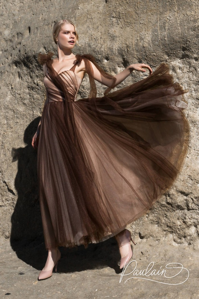 Оригинальное вечернее платье со сложной драпировкой - ВАНИЛЬНЫЕ НЕБЕСА | Paulain
