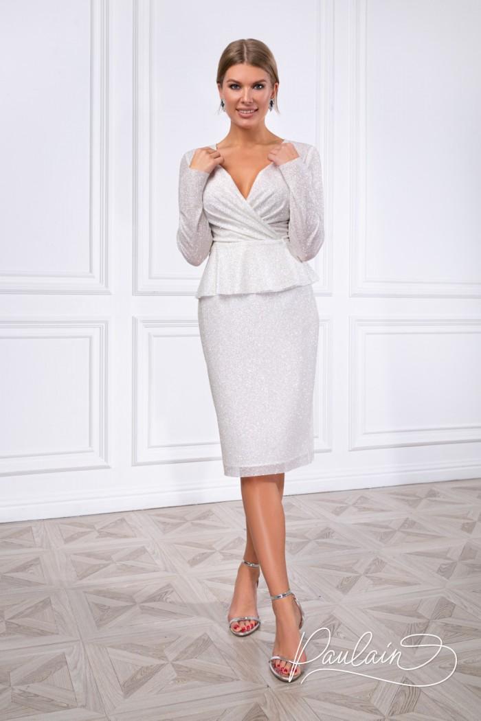 Сияющий комплект из приталенной блузки и узкой юбки с разрезом - АДАЛИН | Paulain