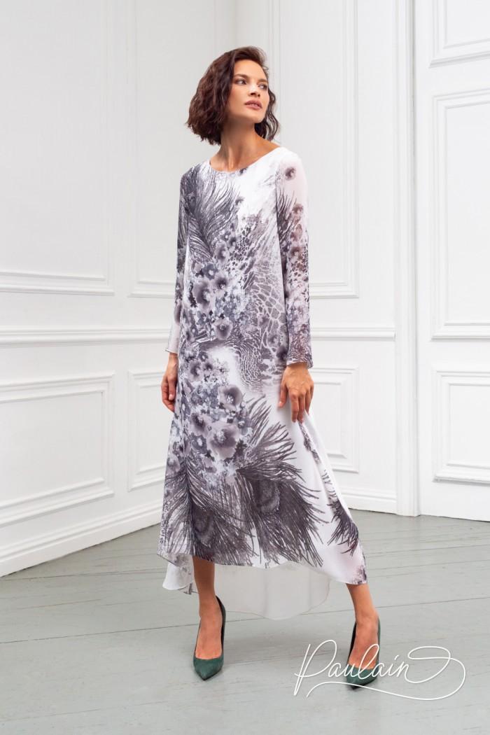 Невесомое платье свободного силуэта из жоржета с монохромным рисунком  - АЛЕТ | Paulain