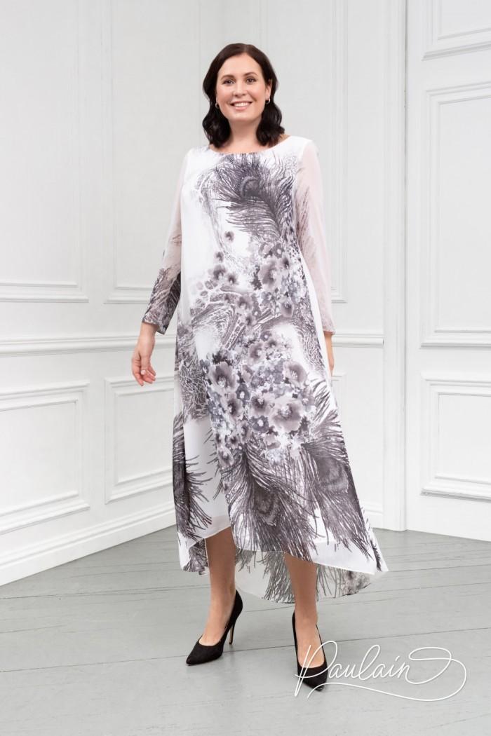 Оригинальное платье свободного силуэта из жоржета с монохромным рисунком  - АЛЕТ | Paulain