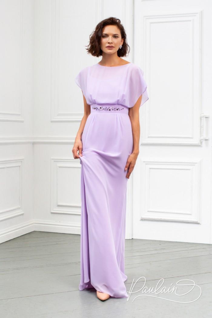 Прекрасное вечернее платье длиною в пол из невесомого жоржета - АНТЕЯ Макси   Paulain