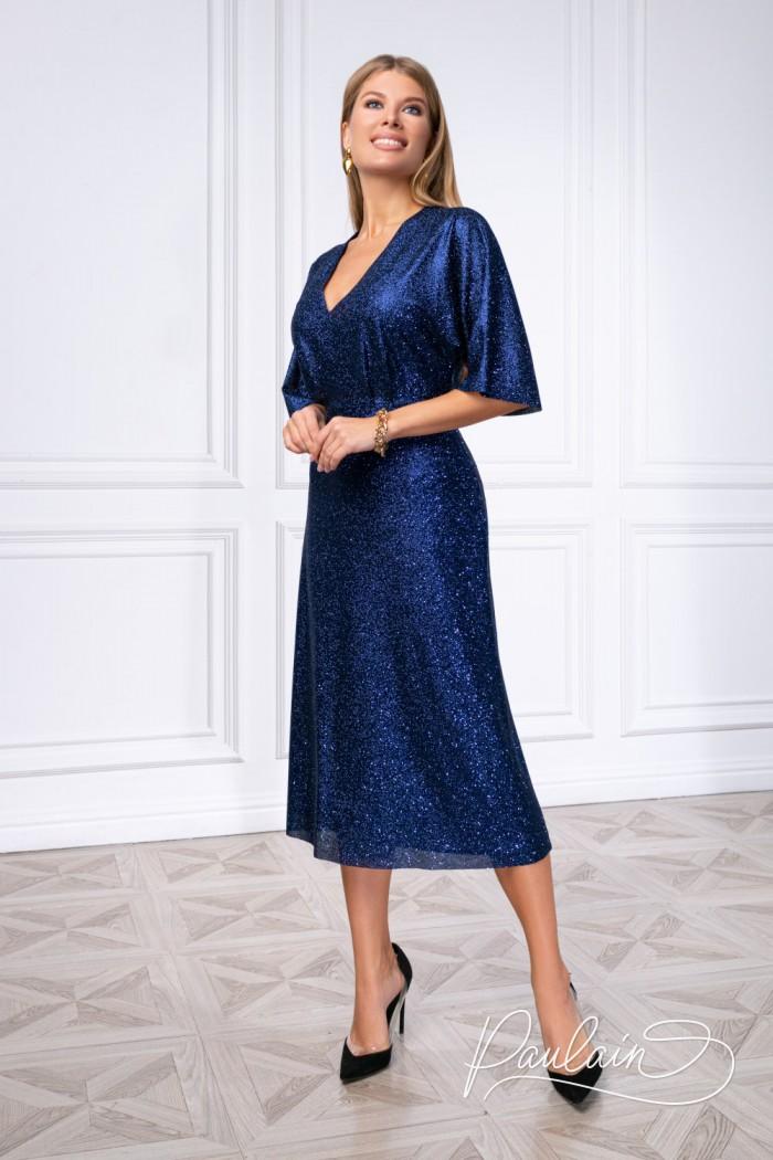 Шикарное коктейльное платье из глиттерного трикотажа - БЕЙЛЕ   Paulain