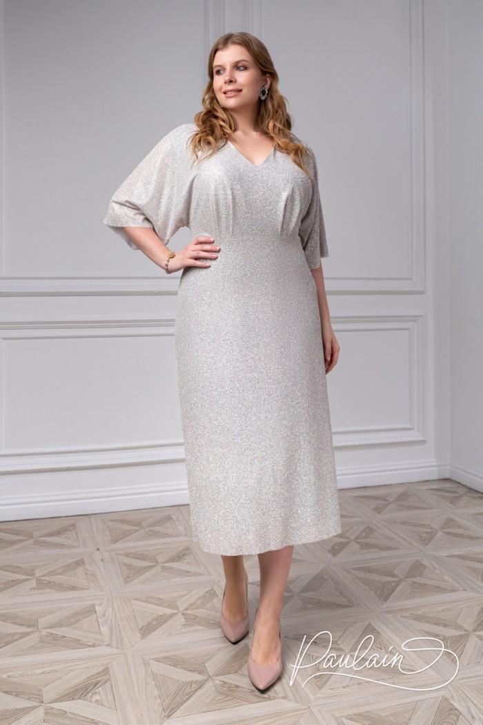 Приталенное коктейльное платье из трикотажа с глиттерным напылением - БЕЙЛЕ | Paulain