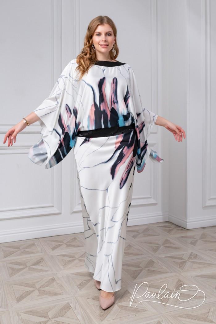 Легкое платье из атласа с оригинальным принтом и рукавами-крыльями - БОНИТА | Paulain