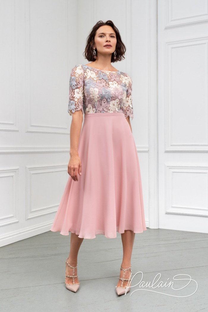 Нежное платье с кружевным лифом и невесомой юбкой ниже колена - БРИДЖИТ | Paulain