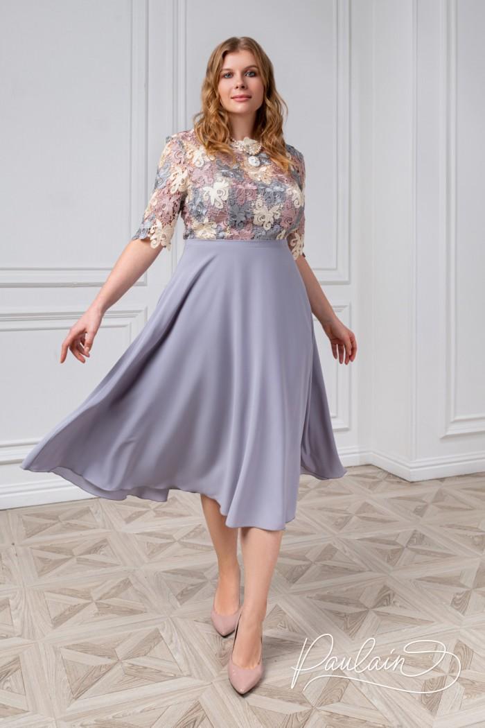 Нарядное платье с лифом из кружева-макраме и юбкой из шифона - БРИДЖИТ   Paulain
