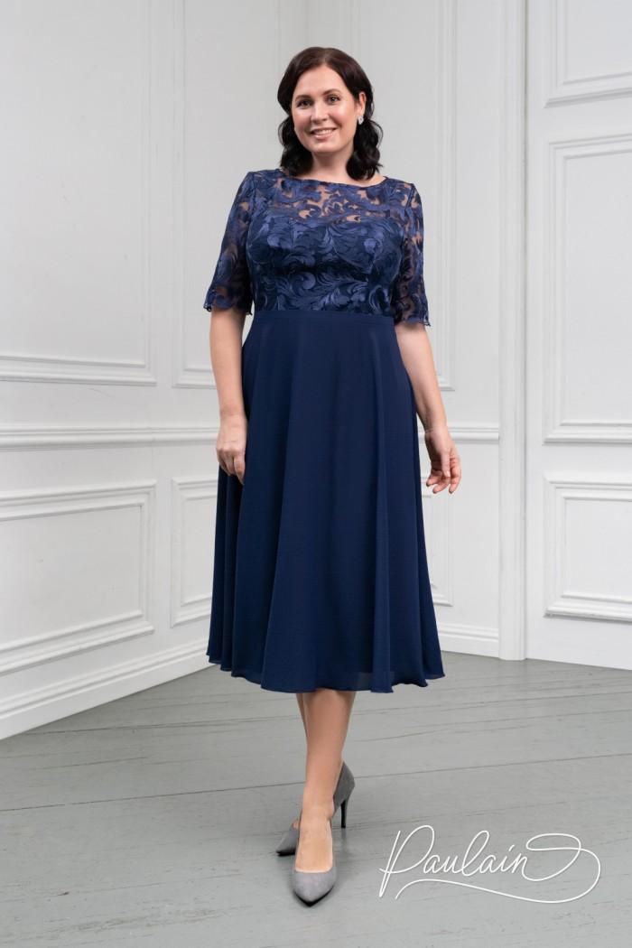 Женственное платье синего цвета с кружевным лифом и шифоновой юбкой - ДАРЛЕ | Paulain