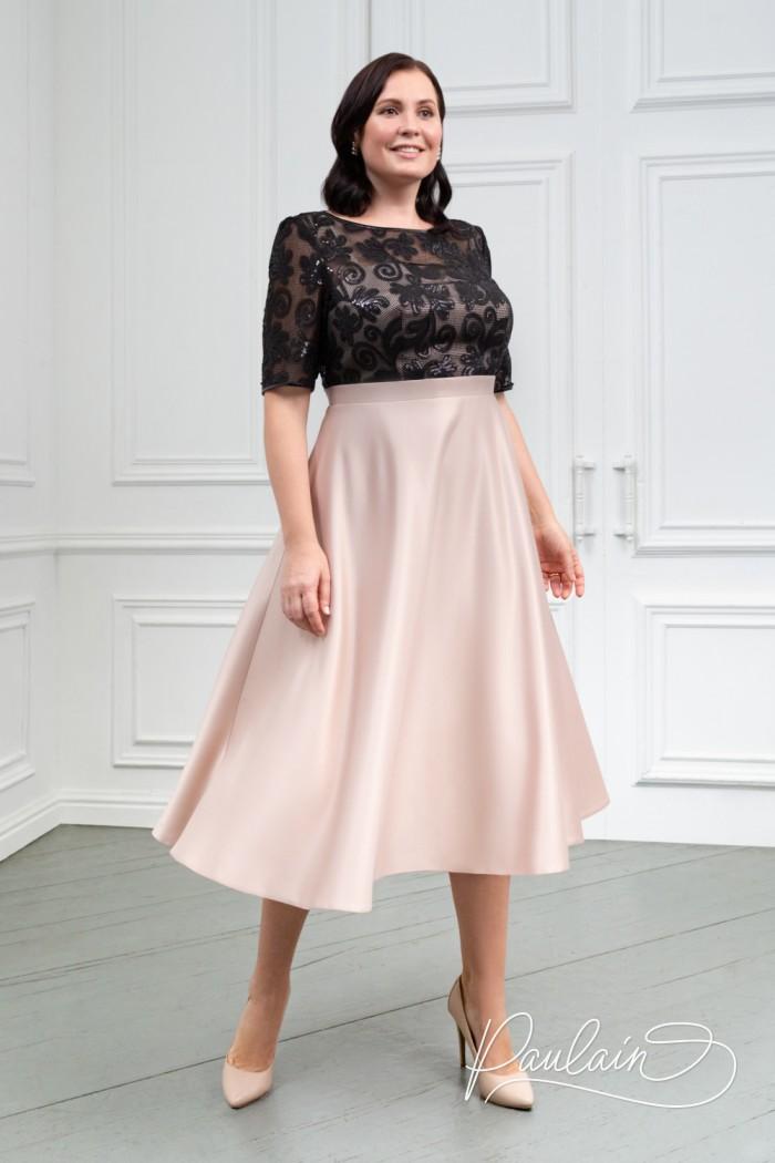Контрастное платье из кружева и атласа с коротким рукавом и юбкой миди - ДЕБОРА   Paulain
