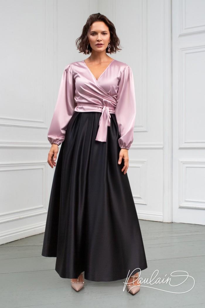 Атласная блузка с длинным рукавом и широкая юбка длины маски - ГРЕЙТ & МЭЛЛ | Paulain