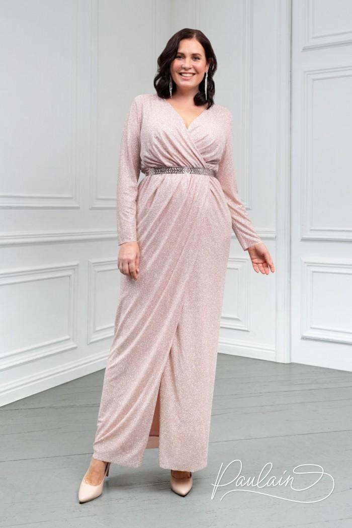 Сияющее длинное вечернее платье из глиттерной ткани - ГЕРА | Paulain