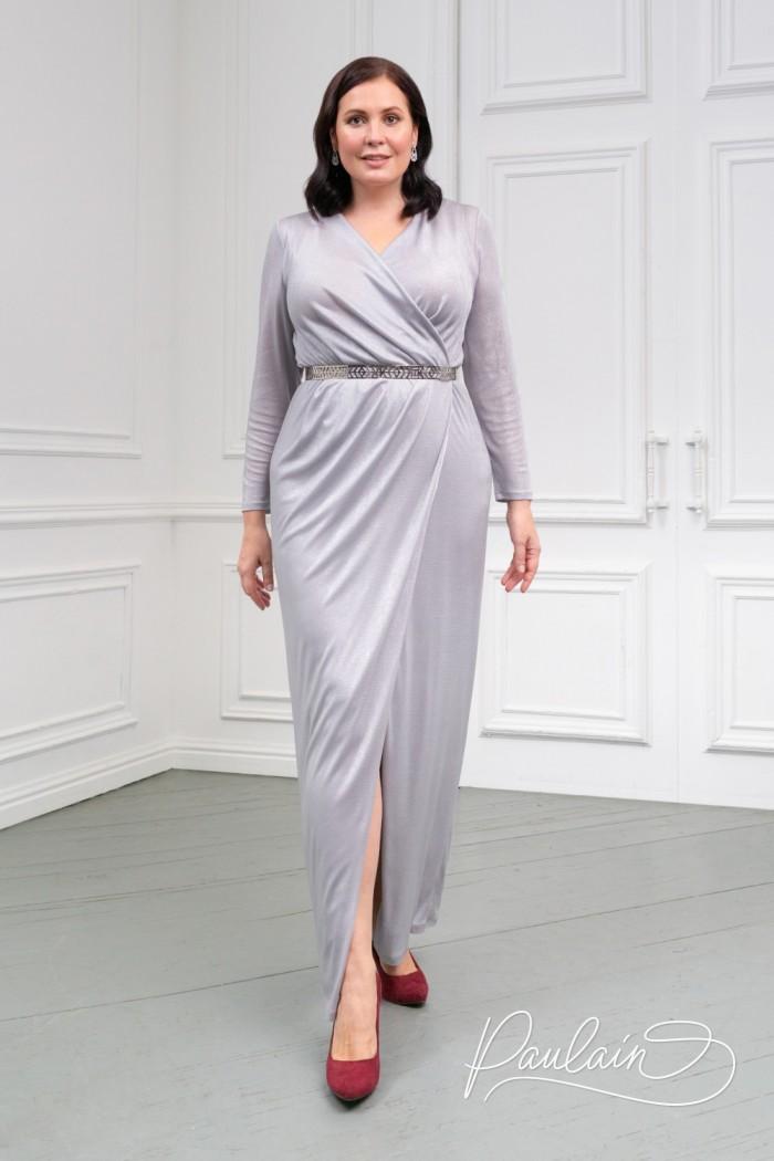 Трикотажное длинное платье серебряного цвета с рукавом - ГЕСТИЯ | Paulain