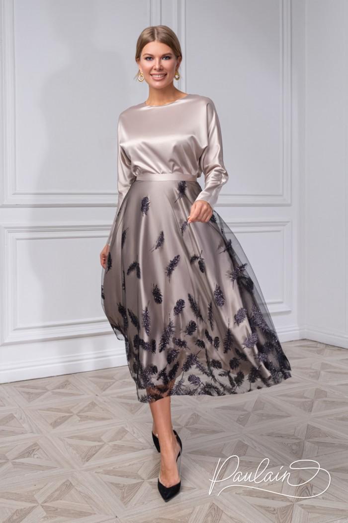 Атласная блуза с рукавом и юбка с глиттерным принтом-опереньем - ХУМА | Paulain