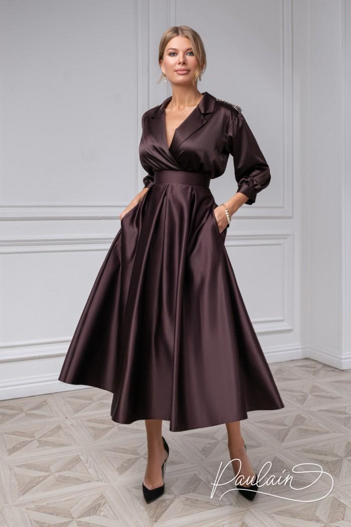 Атласная блузка с длинным рукавом и юбка длины миди с карманами - ИЛАЙН & ПИЛАР | Paulain