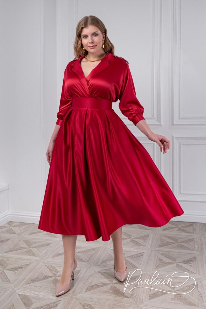 Изящный комплект из атласной блузки с длинным рукавом и юбки - ИЛАЙН & ПИЛАР | Paulain
