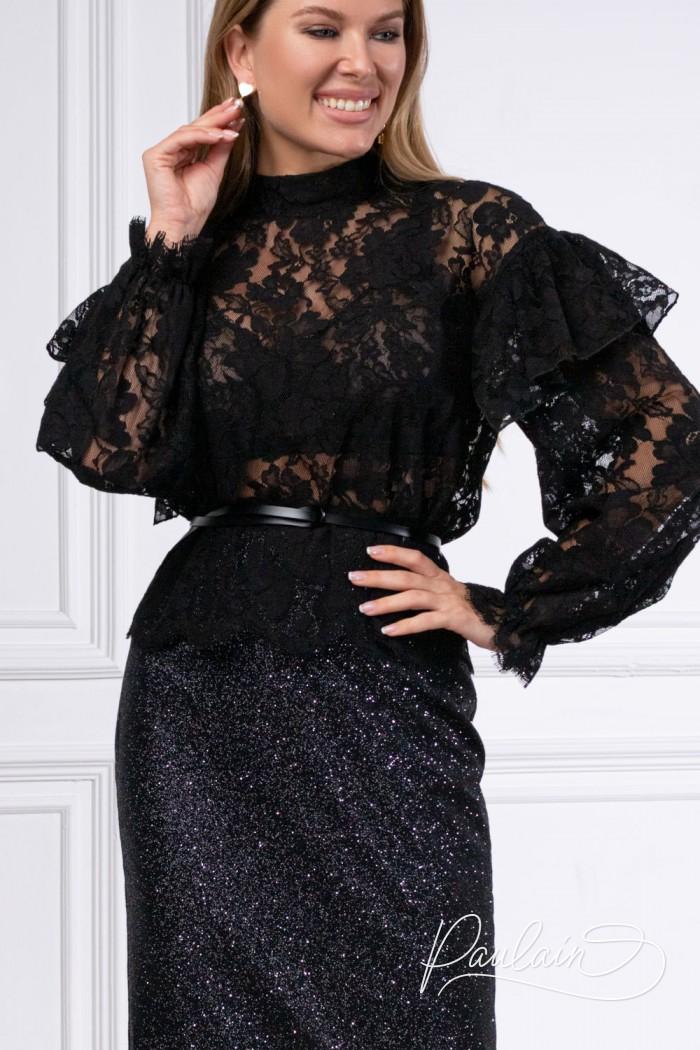 Великолепная кружевная блуза с длинным рукавом и юбка карандаш - КАМА & АДАЛИН | Paulain