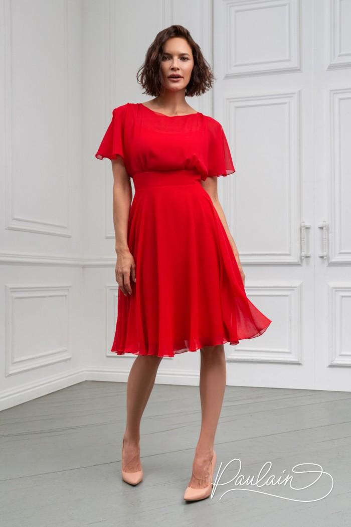 Коктейльное платье из невесомой ткани с юбкой чуть ниже колена - ЛЕТТА Классик | Paulain
