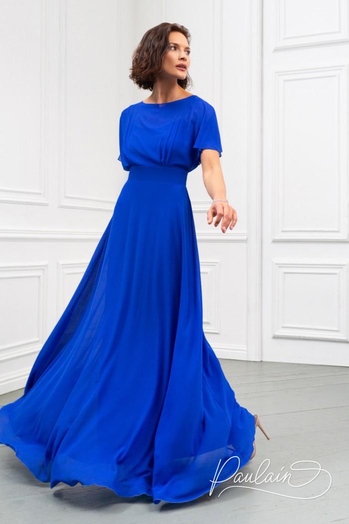 Легкое вечернее платье длины макси из жоржета с высокой талией - ЛЕТТА Макси   Paulain
