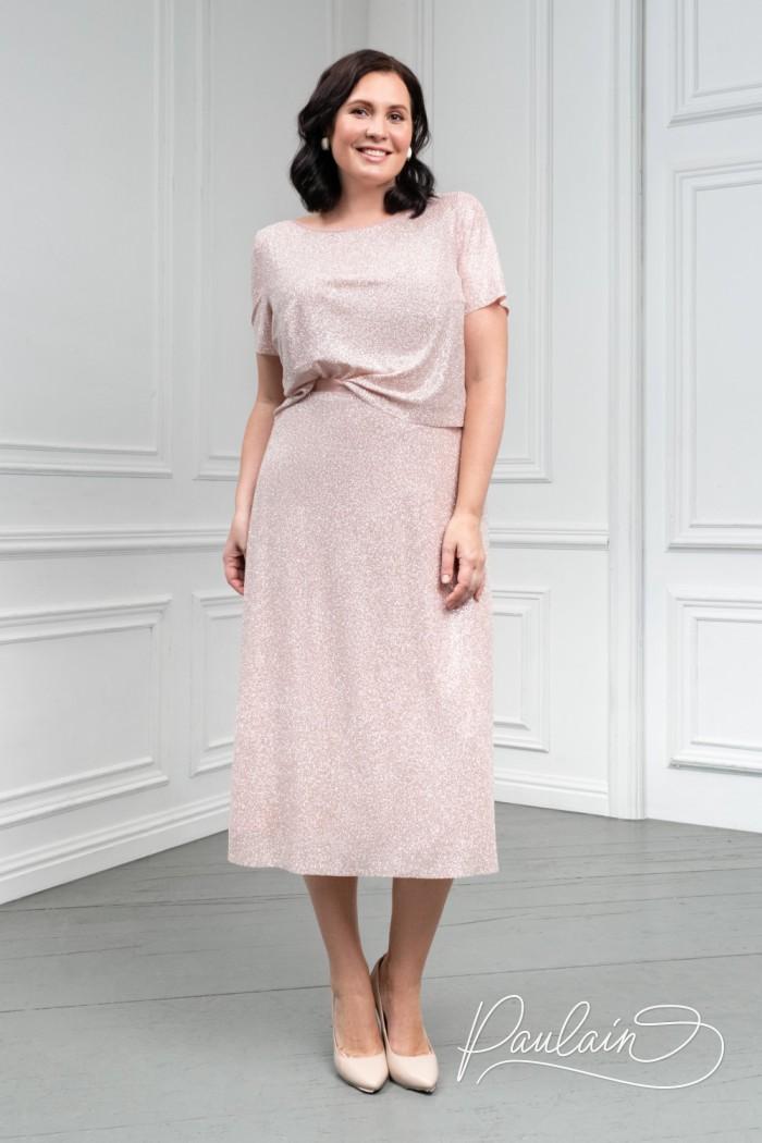 Стильный топ и юбка длины «миди» из сверкающей глиттерной ткани - ЛИОРА | Paulain