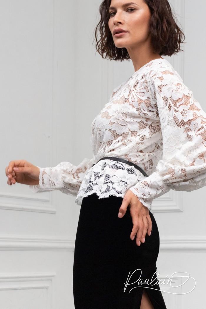 Кружевная блуза с длинным рукавом и бархатная юбка длины миди - МАРТИНА | Paulain