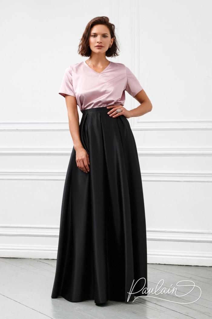 Базовый комплект из нежной блузки и атласной юбки длины макси - МЕЛЛ Макси | Paulain