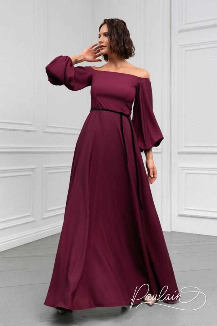 Роскошное длинное вечернее платье длины макси с пышным рукавом - МИННА Макси | Paulain