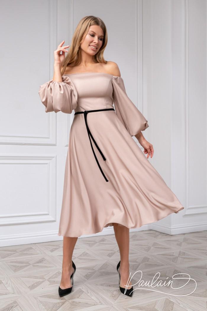Легкое коктейльное платье с пышным рукавом и узким пояском - МИННА Миди | Paulain