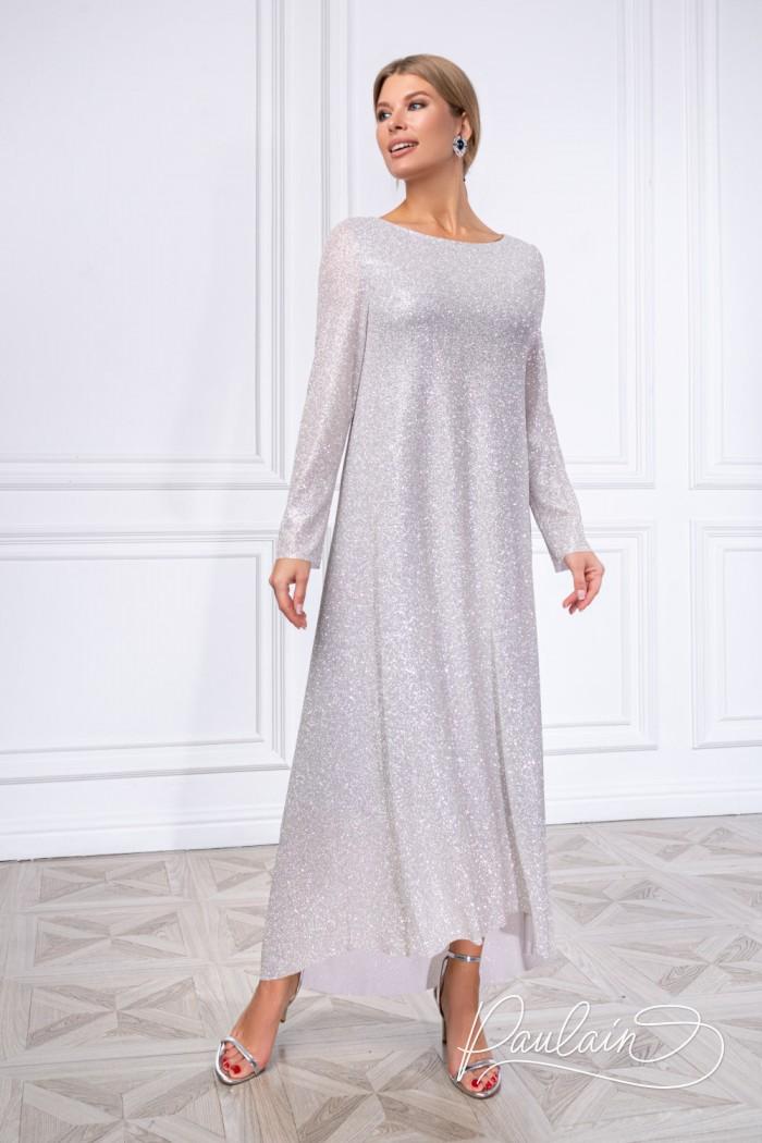 Сверкающее длинное платье из глиттерной ткани - ШАЙНИ | Paulain
