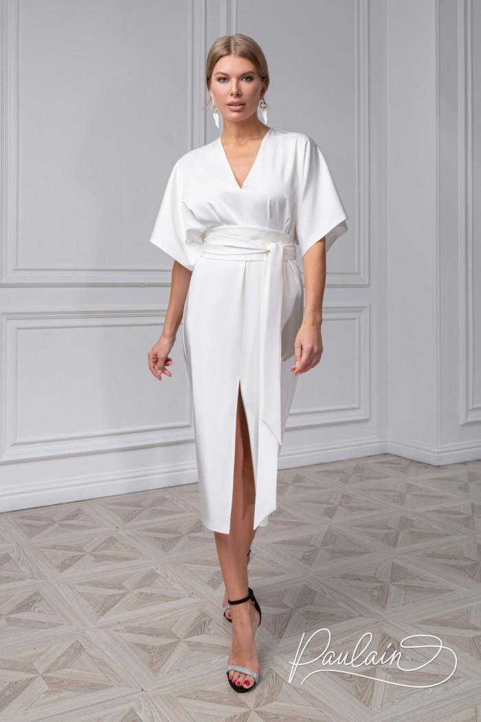 Элегантное платье из пластичного крепа с юбкой длины миди - САМНЕР | Paulain