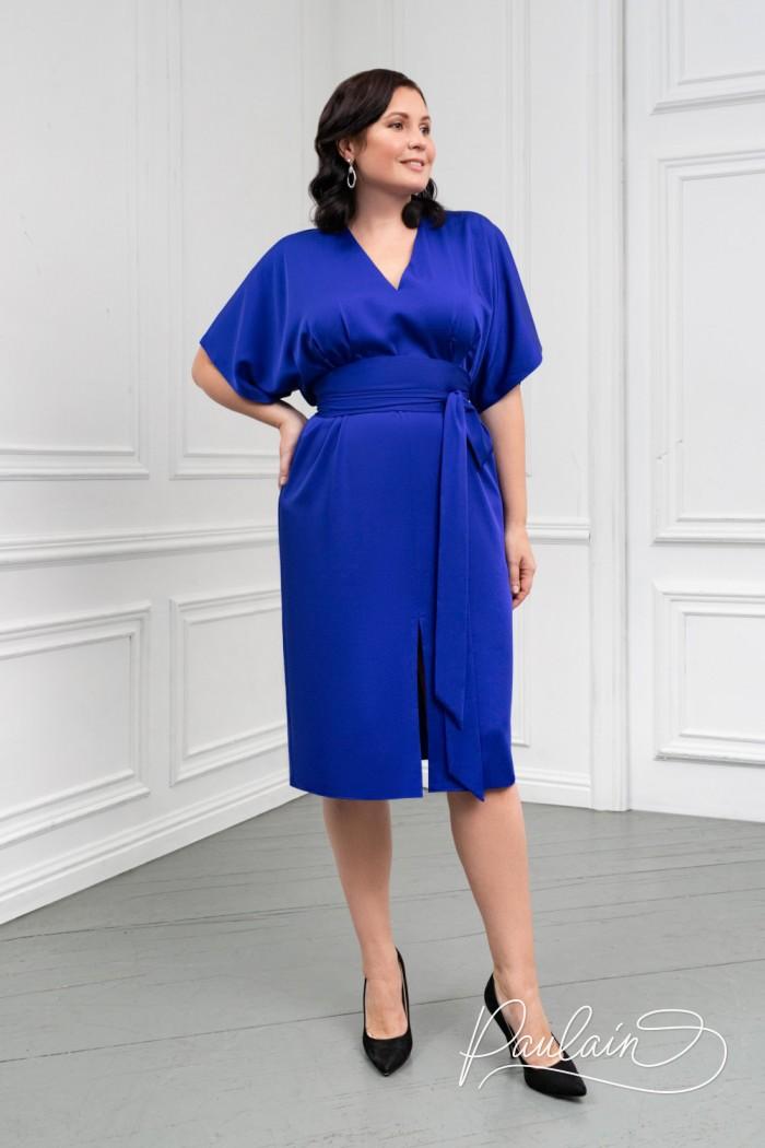 Женское платье длины миди с поясом и разрезом спереди - САМНЕР | Paulain