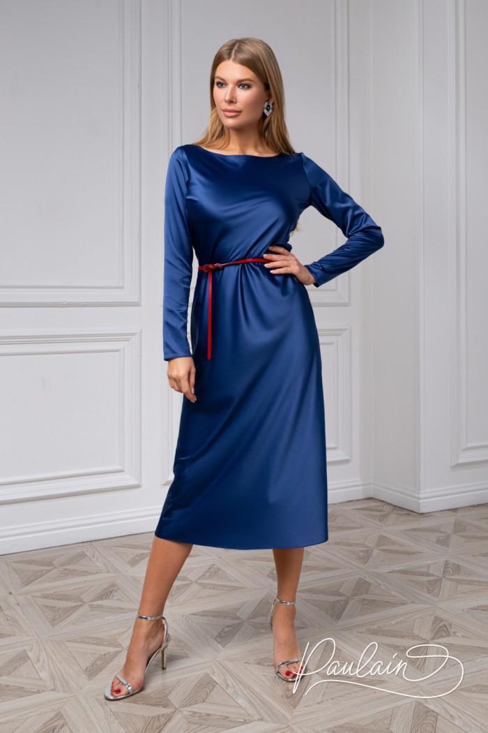 Лаконичное платье чайной длины из аристократичного атласа - ТРИАНА | Paulain