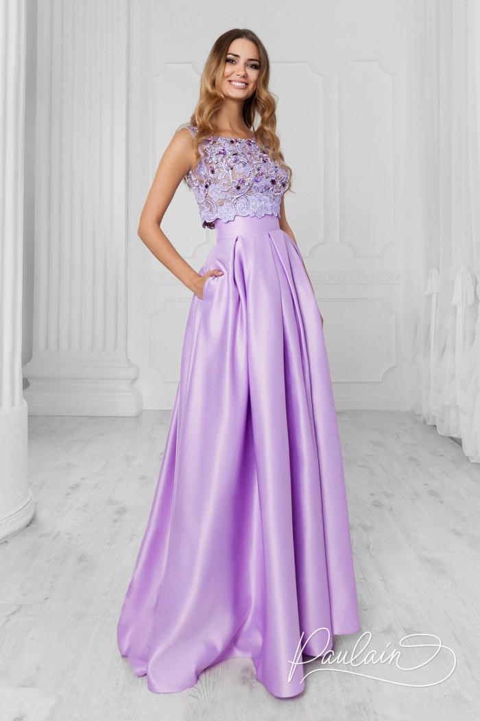 Длинное вечернее платье с атласной юбкой и кружевным топом - АФАЛИНА | Paulain