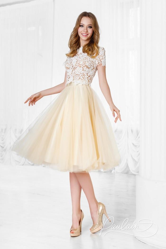 Вечернее платье с кружевным топом и пышной юбкой длины миди - АУРА МАКРАМЕ & ЛИЛИ | Paulain