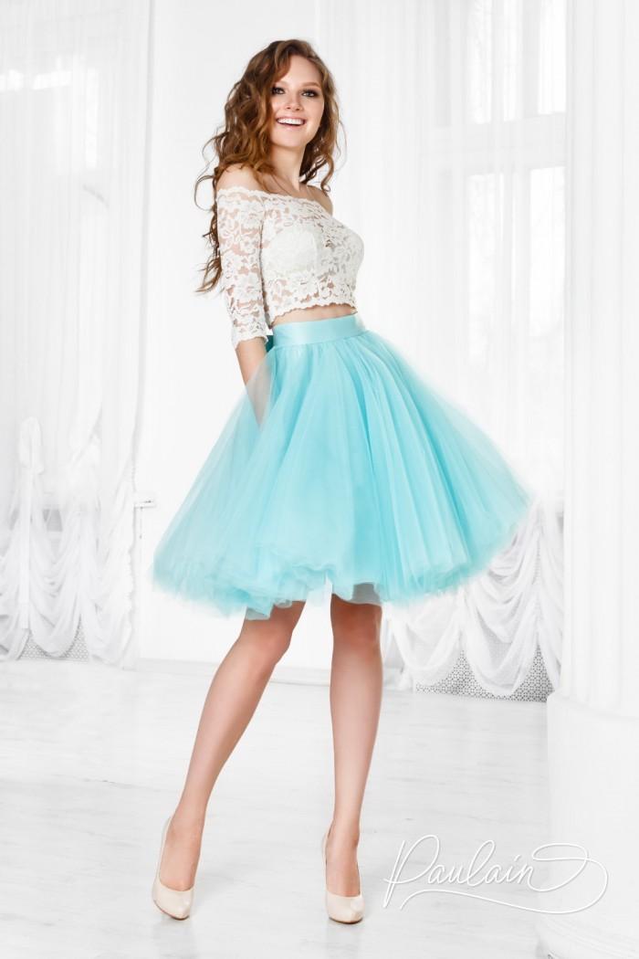 Романтичное платье с кружевной блузой и пышной короткой юбкой - БАРНЕО & ЛИЛИ | Paulain