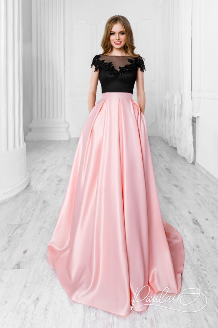 Черно розовое вечернее платье с открытой спиной и длинной юбкой - ОНИКС LUX & МУСКАТ | Paulain