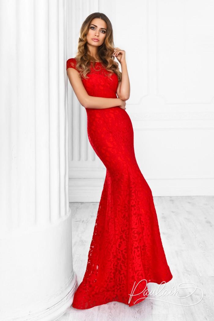 Красное вечернее платье из атласа покрытое кружевом с открытой спиной - РЕВЕРИ ЛЮКС | Paulain