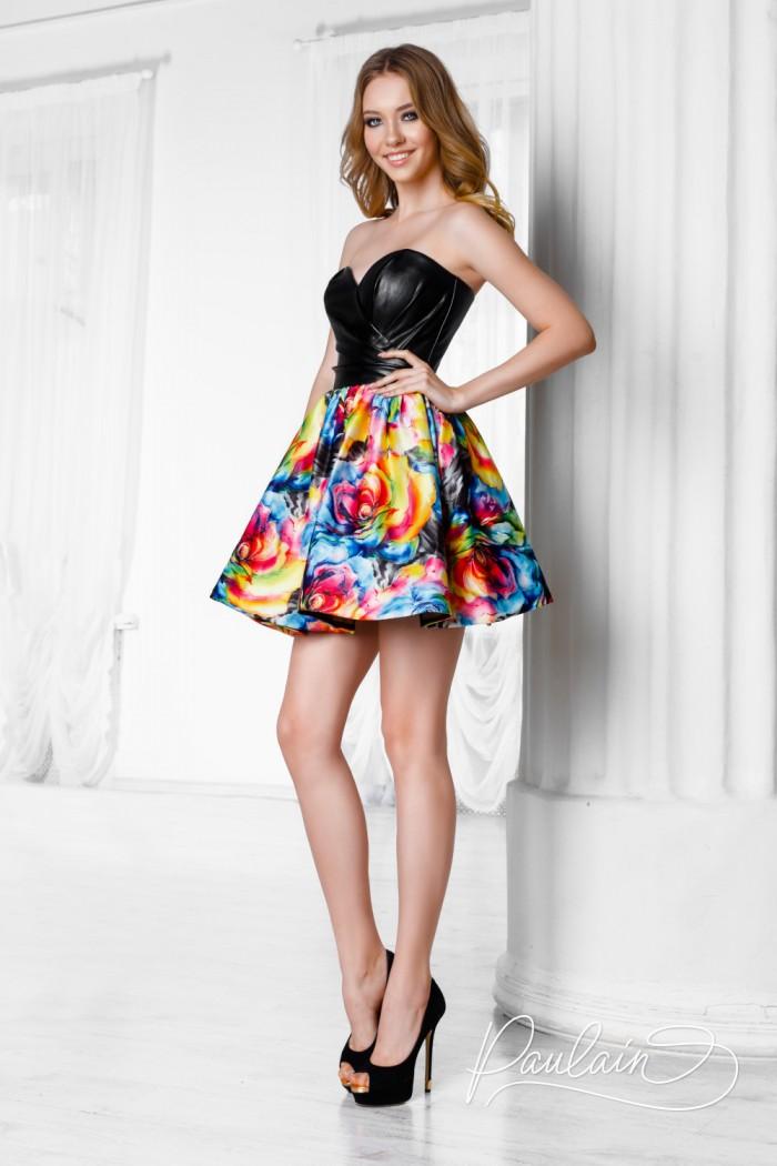 Короткое платье с открытым кожаным лифом и яркой пышной юбкой - СЕЙЛОР | Paulain