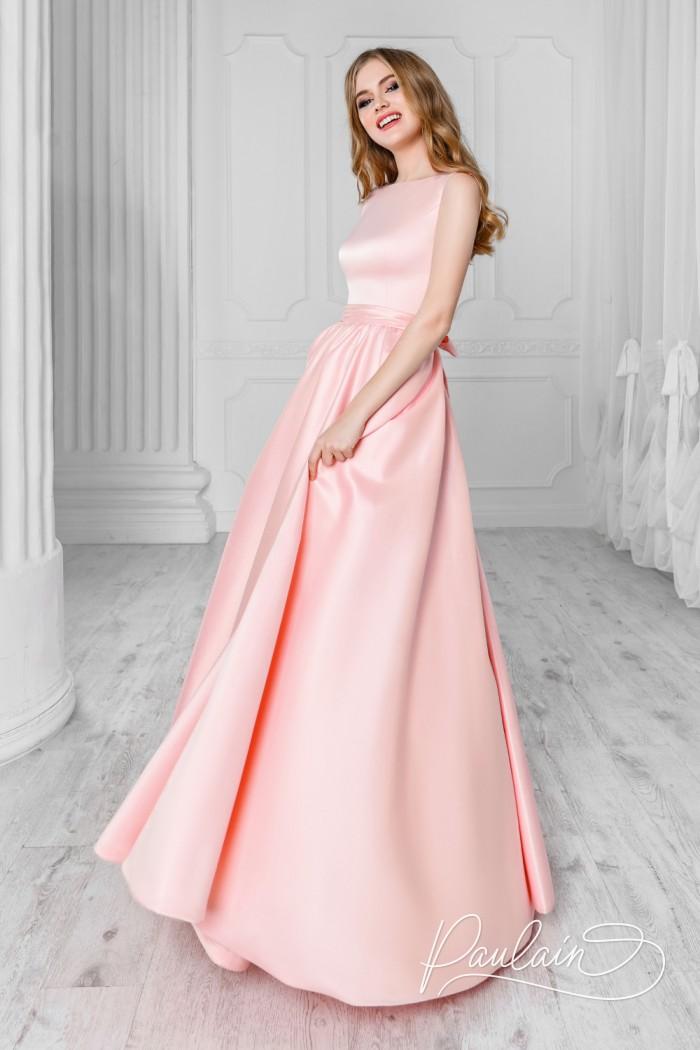 Длинное вечернее платье из атласа со съемным шлейфом - СКАРЛЕТТ | Paulain