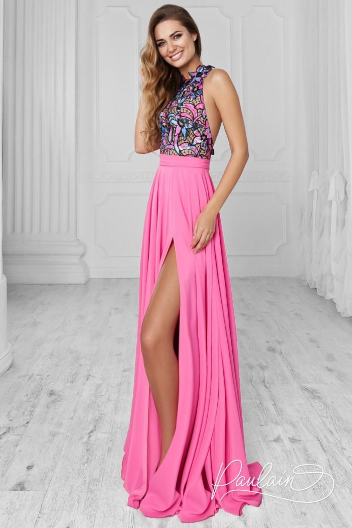 Длинное платье с разрезом и ажурным лифом с открытой спинкой - ТАБАСКО | Paulain