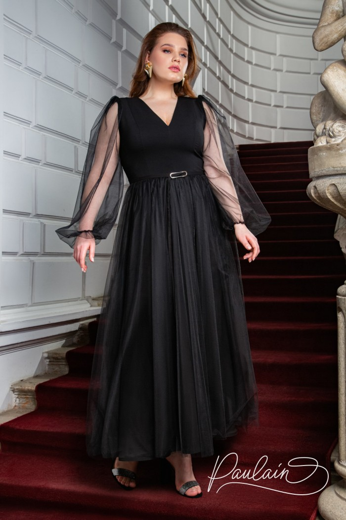 Невероятно воздушное вечернее платье чайной длины с легкими рукавами - ЭЙПРИЛ | Paulain