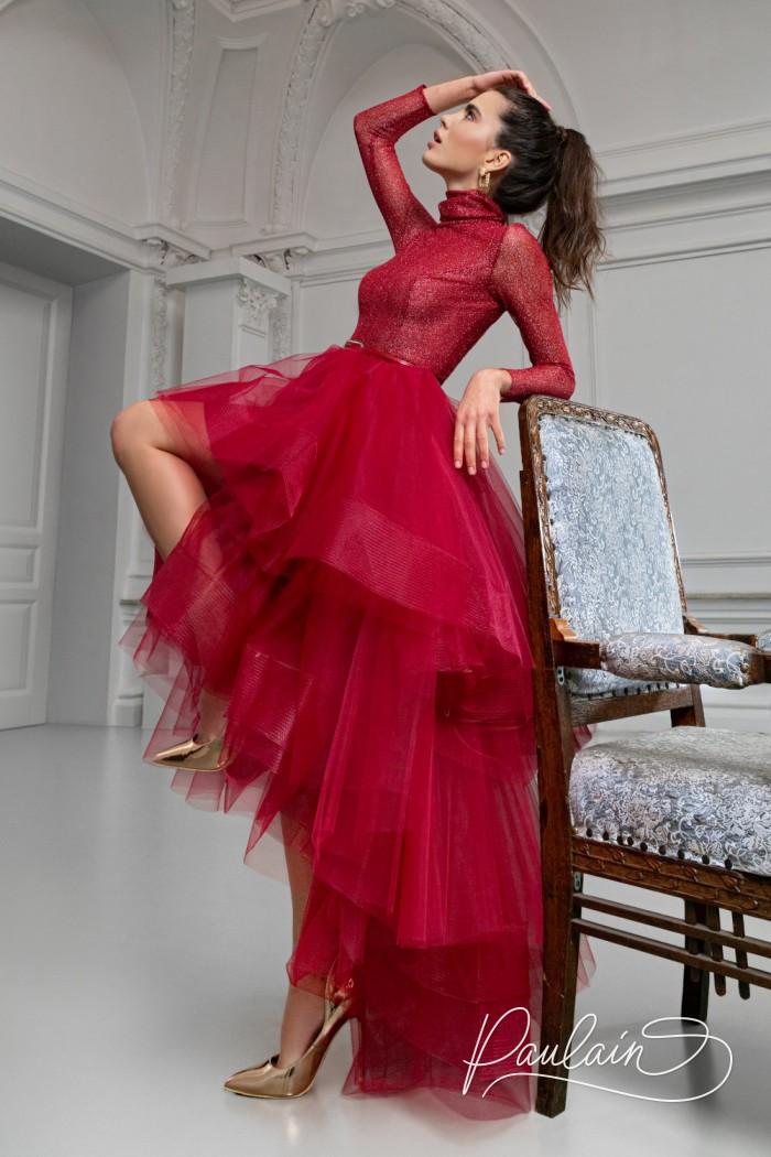 Потрясающее вечернее платье с пышной юбкой переменной длины - БЕЙКЕР | Paulain