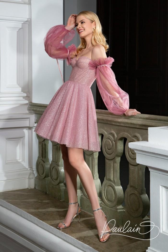 Модное сверкающее платье с короткой пышной юбкой и рукавами - КЕНДИ Мини | Paulain