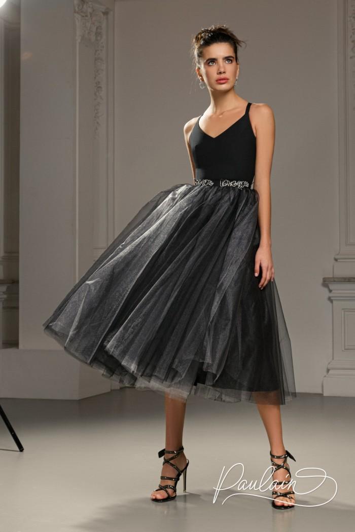 Эффектное коктейльное платье с фатиновой юбкой и лаконичным лифом - КЕРРИ Миди   Paulain
