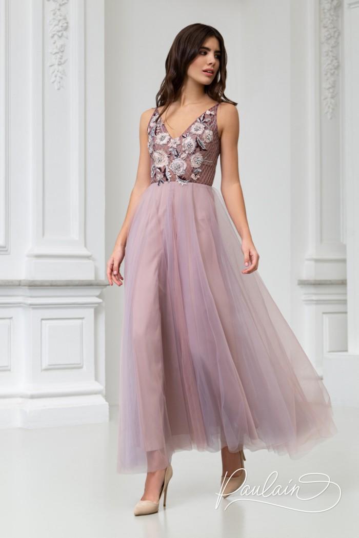 Стильное и эффектное вечернее платье с открытой спиной и пышной юбкой - КЮРЬЕ Чайная | Paulain