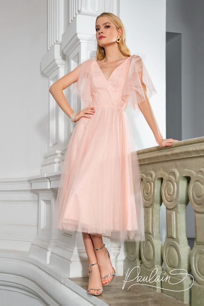 Воздушное и нежное коктейльное платье из сверкающей ткани - ГАБИ Миди | Paulain