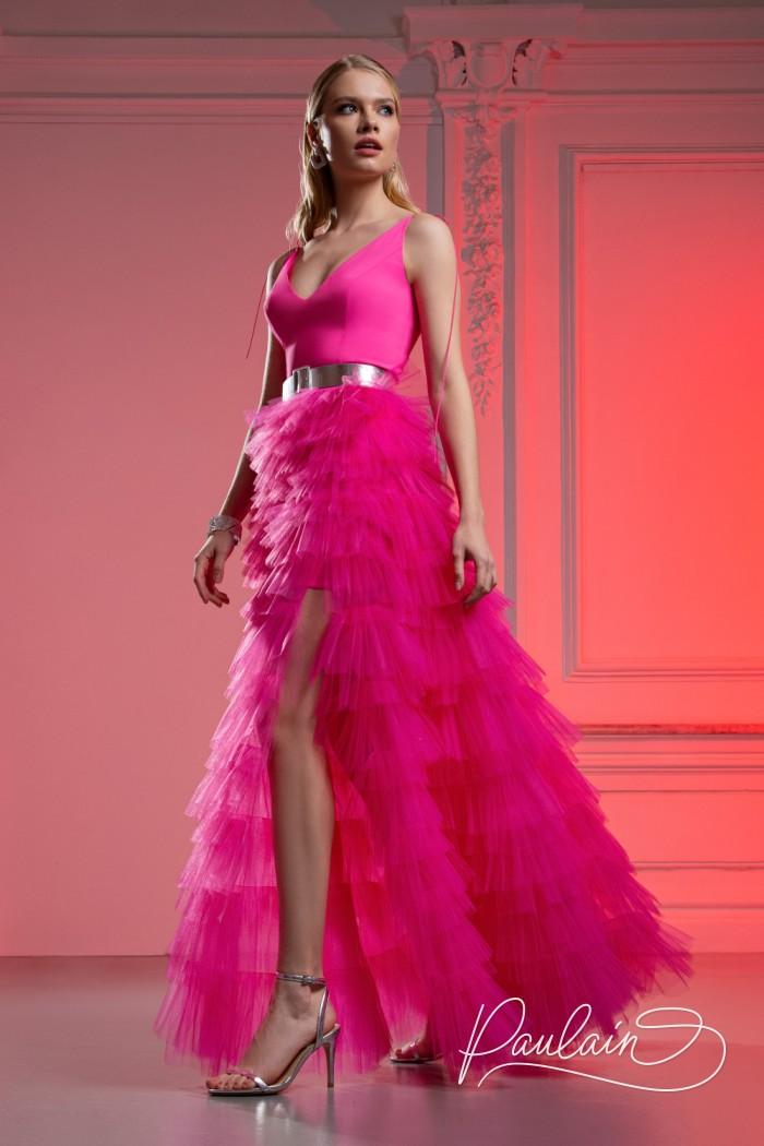 Красивое вечернее платье с глубоким декольте и высоким разрезом - КИМ Макси | Paulain