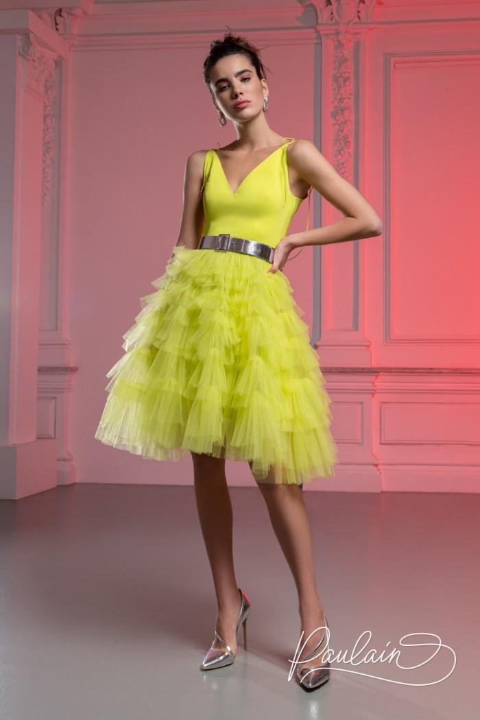 Короткое платье с пышной юбкой, атласным лифом и поясом - КИМ Мини | Paulain