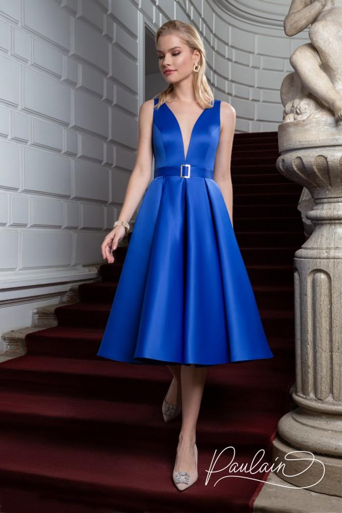 Атласное коктейльное платье длины миди с глубоким декольте - ЛИВ Миди | Paulain