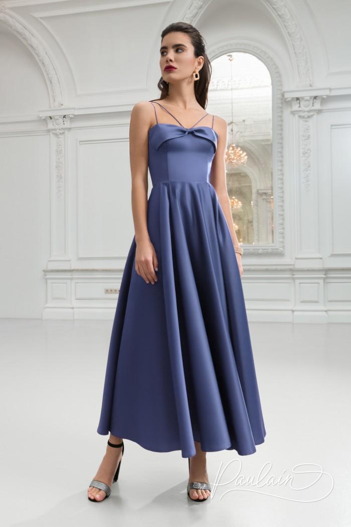 Вечернее атласное платье на бретельках с широкой юбкой длины миди - МИЯ | Paulain