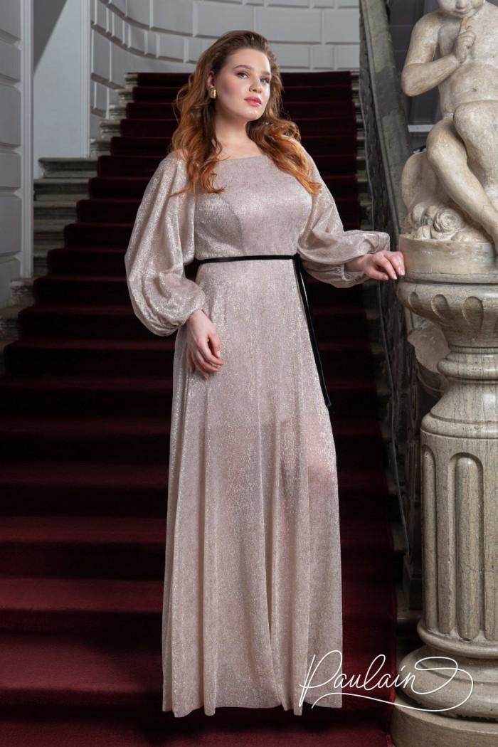 Вечернее платье из сверкающего трикотажа с открытыми плечами и объемными рукавами - МИННА Макси | Paulain